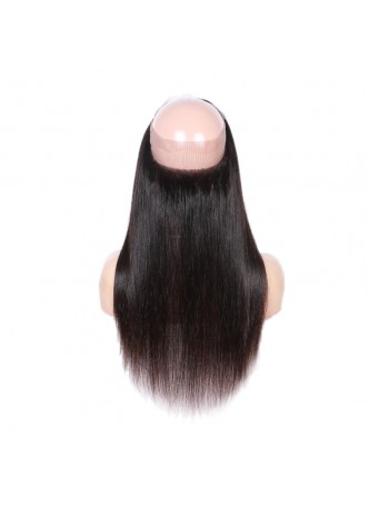 Elwigs Pre Plucked 360 Lace Frontal With Baby Hair 100% indian Remy Human Hair Silky Straight Natural Black 10-22inch