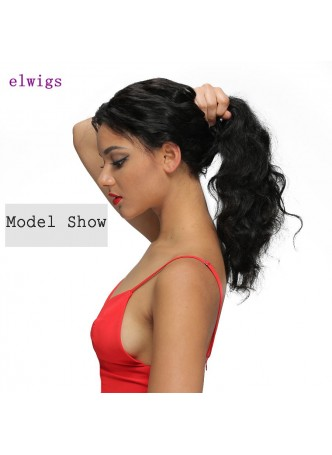 Elwigs Pre Plucked 360 Lace wigs With Baby Hair 100% indian Remy Human Hair body wave Natural Black 10-22inch