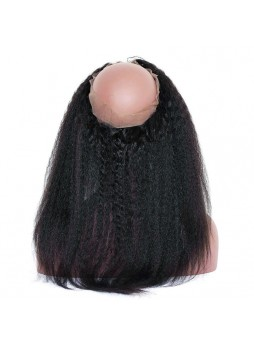 Elwigs Pre Plucked 360 Lace Frontal With Baby Hair 100% indian Remy Human Hair kinky straight Natural Black 10-22inch