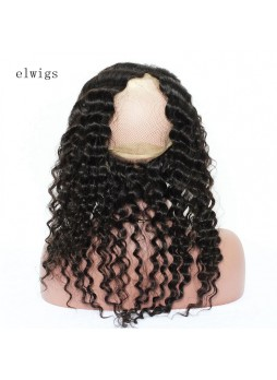 Elwigs Pre Plucked 360 Lace Frontal With Baby Hair 100% indian Remy Human Hair deep wave Natural Black 10-22inch