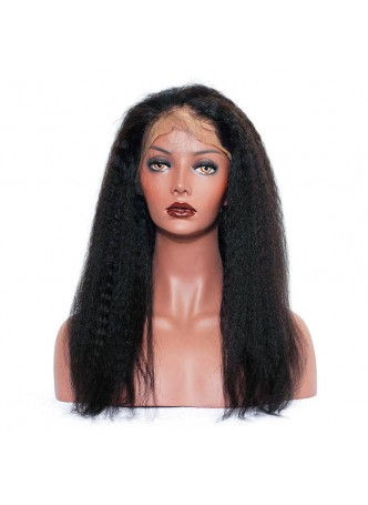 Elwigs Pre Plucked 360 Lace wigs With Baby Hair 100% indian Remy Human Hair kinky curl Natural Black 10-22inch
