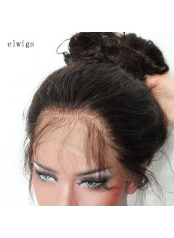 Elwigs Pre Plucked 360 Lace wigs With Baby Hair 100% indian Remy Human Hair deep  wave Natural Black 10-22inch