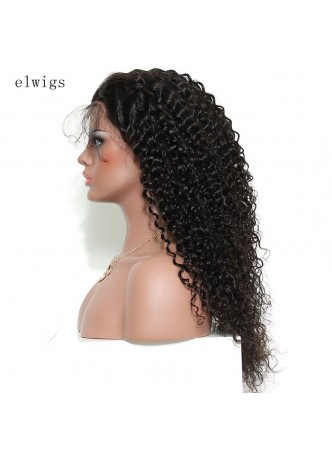 Elwigs Pre Plucked 360 Lace wigs With Baby Hair 100% indian Remy Human Hair deep curl Natural Black 10-22inch