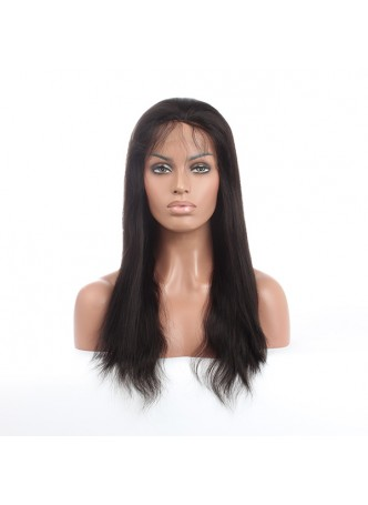Elwigs Pre Plucked 360 Lace wigs With Baby Hair 100% indian Remy Human Hair straight Natural Black 10-22inch