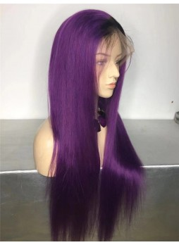 2-3 days  Full lace wig pre plucked hair line baby hair 100% human hair 8A + quality straight ombre 1b/purple
