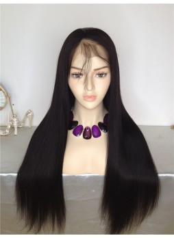 Pre order Full lace wig pre plucked hair line baby hair natural color  bleached knots 100% human hair 8A + quality straight