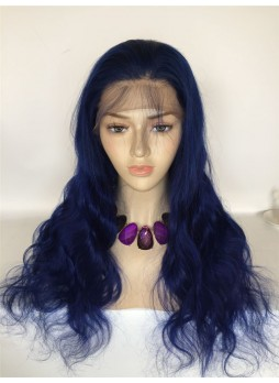 Custom order  Full lace wig pre plucked hair line baby hair blue color 100% human hair 8A + quality body wave
