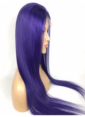 2-3 days  Full lace wig pre plucked hair line baby hair  100% human hair 8A + quality straight blue color