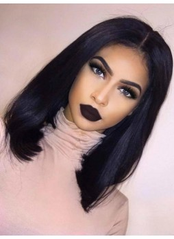 Pre order Bob light yaki Full lace wig pre plucked hair line baby hair natural color  bleached knots 100% human hair 8A + quality