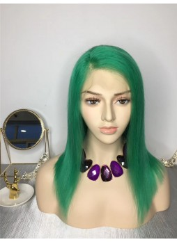 2-3 days  Full lace wig pre plucked hair line baby hair 100% human hair 8A + quality straight bob green color
