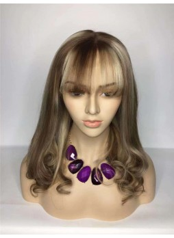 2-3 days  Full lace wig pre plucked hair line baby hair highlight color 18/ 613 100% human hair 8A + quality wavy with bang