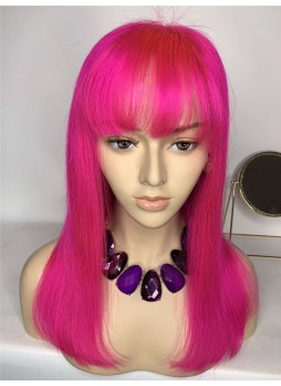 Elwigs custom order  Full lace wig pre plucked hair line baby hair 100% human hair 8A + quality straight Bob style with bang red color virgin hair