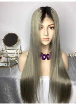 2-3 days  Full lace wig pre plucked hair line baby hair 100% human hair 8A + quality straight ombre 1b/sliver color