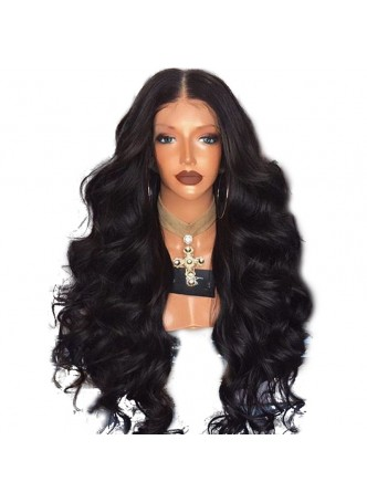 Pre plucked L part Lace front wig baby hair around body wave  middle parting or right parting