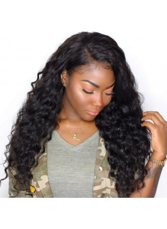 Pre plucked L part Lace front wig baby hair around brazilian curl  middle parting or right parting