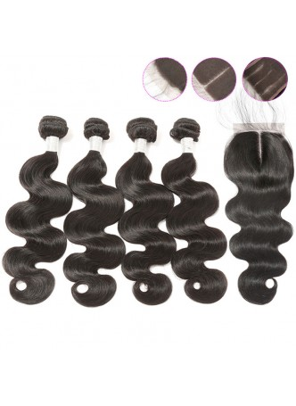 Bundles with closure  8a+ quality virgin remy hair body wave