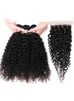 Bundles with closure  8a+ quality virgin remy hair curly