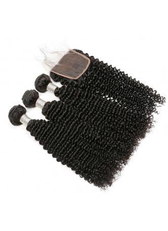 Bundles with closure  8a+ quality virgin remy hair kinky curl