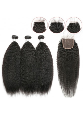 Bundles with closure  8a+ quality virgin remy hair kinky straight