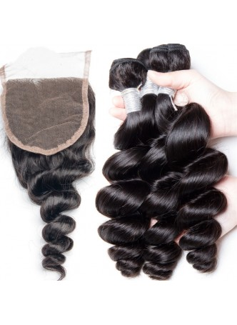 Bundles with closure  8a+ quality virgin remy hair deep wave
