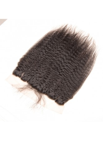 130% Density Free Part Human Hair Natural Hairline kinky Straight Hair 13x4 Ear to Ear Lace Frontal