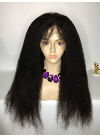 Lace front wig pre plucked hair line baby hair natural color  bleached knots 100% human hair 8A + quality kinky straight