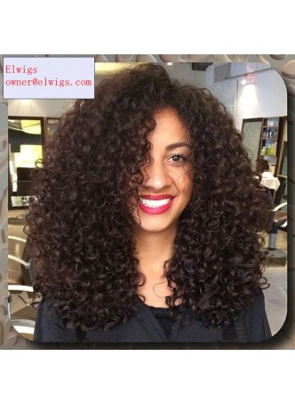 Lace front wig indian remy  hair afro kinky curl baby hair right part