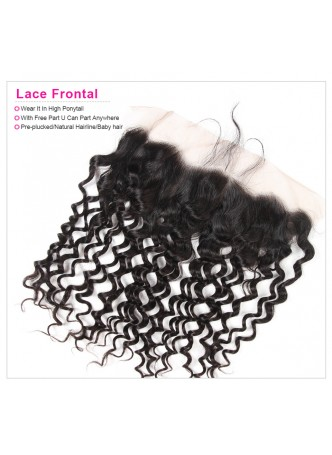 130% Density Free Part Human Hair Natural Hairline  water wave  Hair 13x4 Ear to Ear Lace Frontal