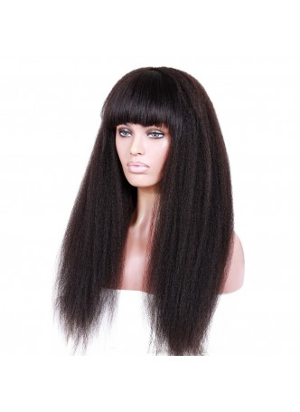 Full lace wig Brazilian virgin hair Italian yaki with bang  baby hair