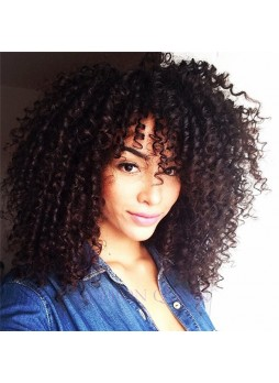 Full lace wig Brazilian virgin hair afro kinky curl baby hair left part