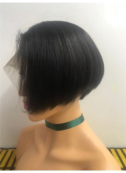 Pre order Full lace wig natural hair line baby hair natural color 100% human hair heavy density short wig